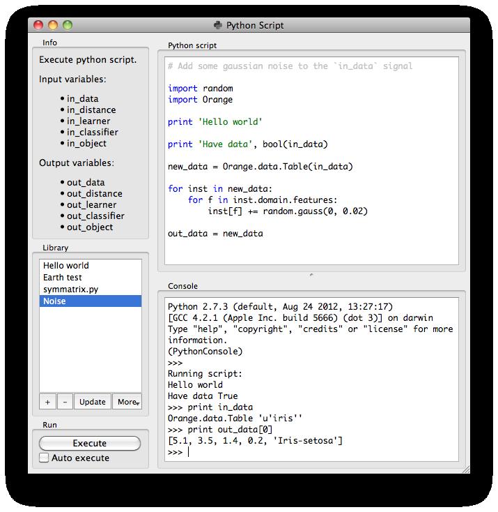 Python Script — Orange Documentation v2.7.6